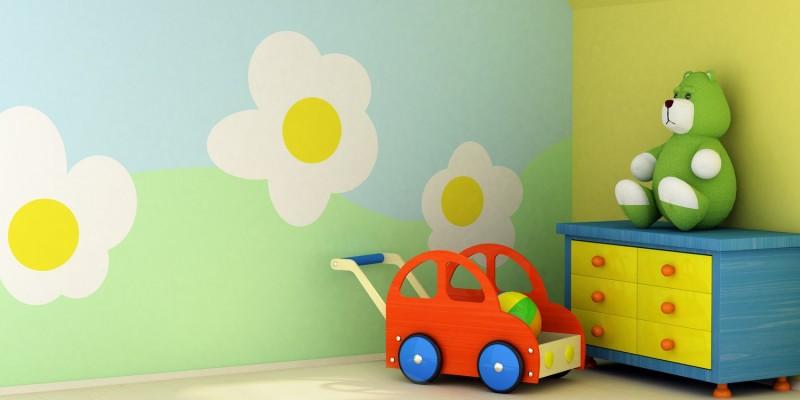 Bunt gestrichenes Kinderzimmer